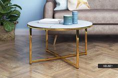 Stolik kawowy Alisma o średnicy 80 cm - złota podstawa Decor, Furniture, Side Table, Table, Home Decor