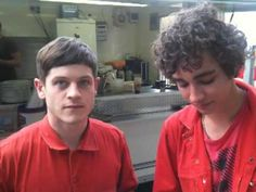 "MISFITS one lunchtime.I just love these two lol. It's awesome they have gone from ""Misfits"" to..Iwan Rheon playing Ramsey Bolton in ""Game Of Thrones"" and Robert Sheehan playing Simon in ""The Mortal Instruments"""