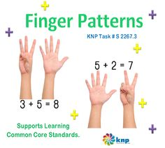 """Finger Patterns"" - Show all the ways to get 6 - 10 on your finger, including using pairs. Supports learning Common Core Standards: 1.OA.6, 0-K.OA.3 [KNP Task # S 2267.3]"