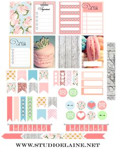 Planner & Journaling Printables ❤️ FREE Planner Stickers BY Studio Elaine macaron / cake / pastel them icons, banners, checklists Happy Planner Cover, To Do Planner, Free Planner, 2016 Planner, Planner Ideas, Planer Organisation, Printable Planner Stickers, Mambi Stickers, Free Printables
