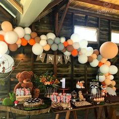 Image may contain: indoor Boys First Birthday Party Ideas, Wild One Birthday Party, Kids Birthday Themes, Baby 1st Birthday, Boy Birthday Parties, Birthday Party Decorations, Woodland Party, Forest Party, Christening