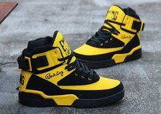 Ewing Athletics Ewing 33 Hi Dandelion Retro*~ Sneakers Mode, Sneakers Fashion, Fashion Shoes, Mens Fashion, Hype Shoes, Men's Shoes, Shoes Sneakers, Ewing Shoes, Ewing Athletics