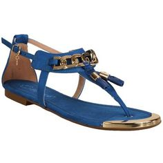 39aa720789305 Sandália Rasteira Bebece Azul Royal e Ouro  Shoes  Blue  Summer  Spring