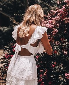 White ruffle dress spring