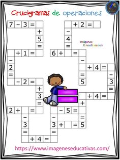 Crucigramas de operaciones sencillas - Imagenes Educativas Preschool Math, Teaching Math, Math Activities, First Grade Math Worksheets, 1st Grade Math, Math For Kids, Fun Math, Math Math, Math Tutor