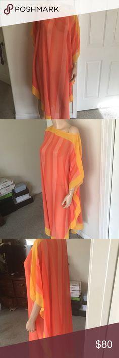 Trina Turk Dress Yellow and Orange Shear Dress with Lining Trina Turk Dresses