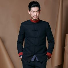 Modern Frog Button Lyocell Chinese Tang Jacket - Dark Blue - Chinese Jackets - Men