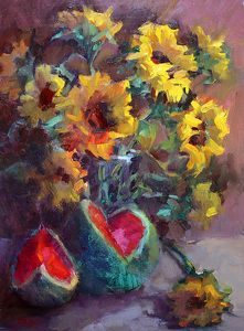 Sunflowers and Watermelon by Carol Smith Myer Oil ~ 16 x 12