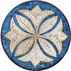 A decorative rondure the Otelles makes a stunning mosaic garden artwork pool art or indoor stone backsplash. A double image of golden lilies and four-petal orchids against a blue background will make all your mosaic art projects and home decorating ideas blossom beautifully.