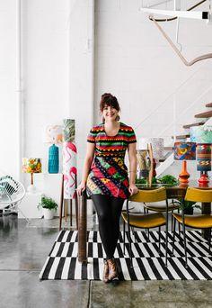 Tamara Watts of Retro Print Revival in her workspace in Brunswick. Photo - Brooke Holm.