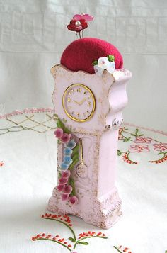 """Pincushion, """"Time to Sew"""" Vintage Clock Pincushion"""