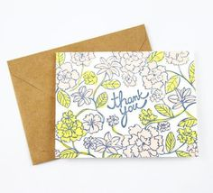 Send a sweet thank-you note with this beautiful floral patterned card from Odd Daughter Paper Co. (inside of card is blank).