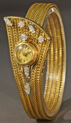 Rare Vintage 1950s Piaget Solid 18K Gold & Diamond Ladys Bracelet Jewelry Watch #Piaget