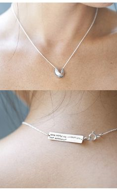 Fortune cookie necklace with fortune... this is the cutest thing ever.