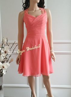 Lace straps knee length Bridesmaid dress, Coral reef bridal party dress on Etsy, $99.00