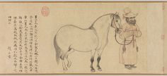 Groom and Horse (人馬圖), dated 1296 Zhao Mengfu (趙孟頫, Chinese, 1254–1322) Handscroll, ink and color on paper; 11 7/8 x 17 1/8 in. (30.3 x 43.5 cm)