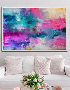 Imprimir azul rosado abstracto de pintura pintura por BuyWallArt