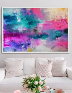 Abstract Pink Blue Print from original painting by BuyWallArt