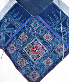 China, Miao people, woman's apron Costume Ethnique, Chinese Embroidery, Indigo Blue, China, Apron, Costumes, People, Women, Mandalas