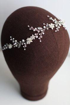 Bridal floral hair vine Bridal flower headpiece Bridal   Etsy Flower Headband Wedding, Wedding Hair Pins, Flower Headpiece, Bridal Hair Vine, Bridal Flowers, Hair Beads, Floral Hair, Bridal Hair Accessories, Bridal Headpieces