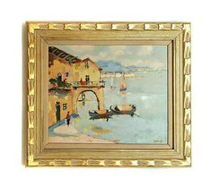 Vintage Original Oil on Canvas Palette Knife Style Painting of Mediterranean Sea. * Signed by artist: Jean Joseph in the lower right corner, and on the back of the painting. -- (Please click on picture to enlarge to a full view)-- This painting depicts lovely mediterranean style home
