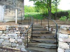 Commercial and Residential Custom Ironwork, Railings, Staircases - Wildflower Ironworks - John Baker Exterior Stair Railing, Outdoor Stair Railing, Wrought Iron Stair Railing, Stair Handrail, Staircase Railings, Stairways, Handrail Ideas, Hand Railing, Aluminum Railings