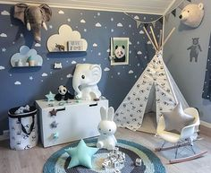 Gn from Olivers room  .  New tipi tent and star girlander,pillows and panda basket from @happy_spaces  .  # Elefant fra @preciouskids.no  . - #sponset #kidsroom #kidsfashion #kidsstyle #love #boysroom #gutterom #barnerom #barnrumsinspo #kinderzimmer #decorforkids #home #interiordesign #interiorstyling #kidsdecor #playroom #bedroom #nursery #barnasverden #newin #myhome #family #clouds #wallstickers #kidsroomdecor #kids_of_our_world