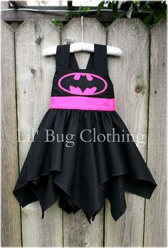 Custom Boutique Clothing Super Hero Bat Girl Black And Hot Pink BIrthday Costume