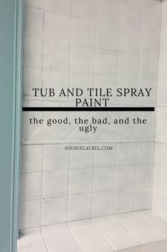 We finally refinished our tub surround using tub and tile spray paint! I'm sharing before and after pics and our whole experience in this article. Tub And Tile Paint, Painting Bathroom Tiles, Painting Bathtub, Shower Tile Paint, Painting Bathroom Countertops, Ceramic Tile Bathrooms, Painting Ceramic Tiles, Kitchen Backsplash, Manualidades