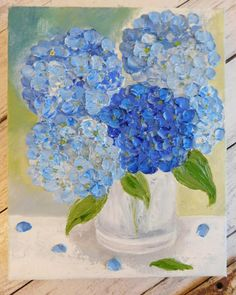 Blue Hydrangea Painting Impasto Painting Cottage Chic
