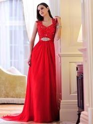 EricDress - EricDress Charming A-Line Straps Appliques Evening Dress - AdoreWe.com