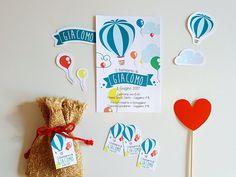 Invito mongolfiera e palloncini personalizzato digitale Party