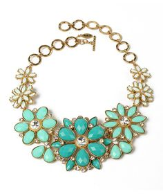 Look at this Amrita Singh Turquoise & Gold Crystal Paragano Evening Bib Necklace on #zulily today!