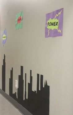 Superhero hallway, Heroes of the Bible theme for summer series