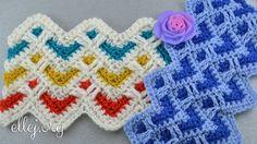 Видео урок: Узор для пледа Шевроны с сердечками. Little Hearts crochet s...