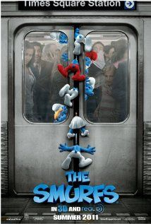 The Smurfs (2011) When the evil wizard Gargamel chases the tiny blue Smurfs out of their village, they tumble from their magical world into New York City. X