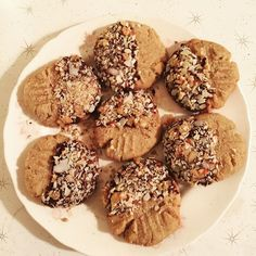 Salted & chocolate-dipped peanut butter shortbread cookies!