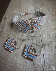 macrame beaded earrings, Miyuki beads, glass seed beads, brass square NoTailCatJewelry macrame set m Macrame Bag, Macrame Necklace, Macrame Jewelry, Fabric Jewelry, Macrame Bracelets, Beaded Earrings, Crochet Earrings, Brass Jewelry, Jewellery