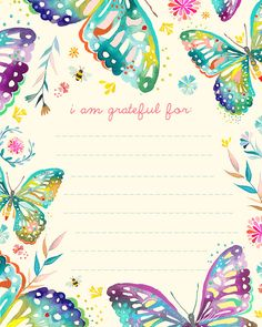 Great pages for a Gratitude Journal ~I have GREAT stamps to replicate this page in my own creative way. SUPER idea, cause i love me some butterflies!!! :)~