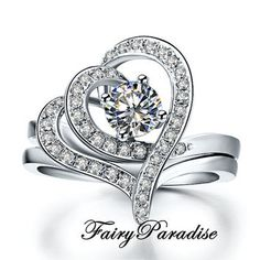 Unique 2 pcs Stacking Engagement Ring Set : 0.5 ct Round Man Made Diamond Promise Ring in 925 silver platinum plated, Double Heart Shape Cocktailring  #solitairering #manmadediamond #labmadediamond #Etsy #birthstone#bling #promisering #FairyParadise #diamondring #girlsnight #birthdaygirl #engagementring #anniversary #love #sparkles #jewelry #Finejewelry #tiffany #inexpensivewedding #Cocktailring