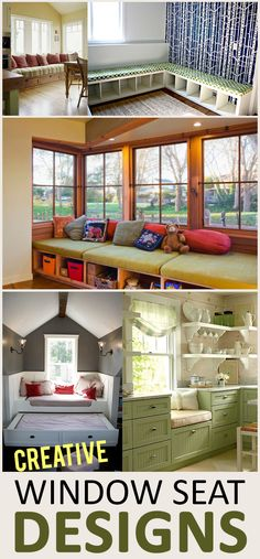 Creative Window Seat Designs-Few pieces of furniture add more charm than a window seat. And what a relaxing place to read, sip cocoa, or take a nap. Here are some of my favorite window seat ideas—I hope you get inspired!