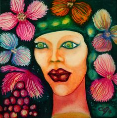 Mini Paintings, Original Paintings, Original Art, Female Portrait, Woman Portrait, Gold Paper, International Artist, Marker Art, Woman Painting