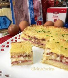 pastel de pan de molde jamon queso Finger Foods, Sandwiches, Empanadas, Quiches, Gratin, Ham Loaf, Bakery Recipes, Puff Pastries, Homemade Desserts