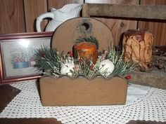 Primitive Wooden Box Pillar Candle Jingle Bells Country Christmas  #NaivePrimitive