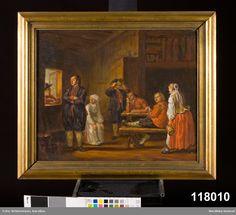 """Huvudliggare: """"Oljemålning på duk, framställer en stuginteriör med 5 män och 2 kvinnor i blekingedräkter. Kopia efter P. Hilleström d.ä. av E. v. Walterstorff. Originalen hos Rosenlind?"""""""
