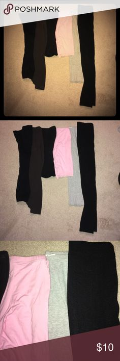 Variety of Solid Color Leggings Small 6 Total Two short pink and black leggings, three mid length black, dark brown, and gray leggings, one full length black fleece lined. Pants Leggings