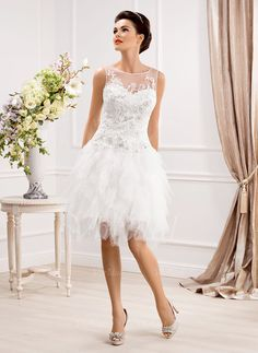 Wedding Dresses - $134.93 - A-Line/Princess Scoop Neck Knee-Length Tulle Wedding Dress With Beading Appliques Lace (0025058504)