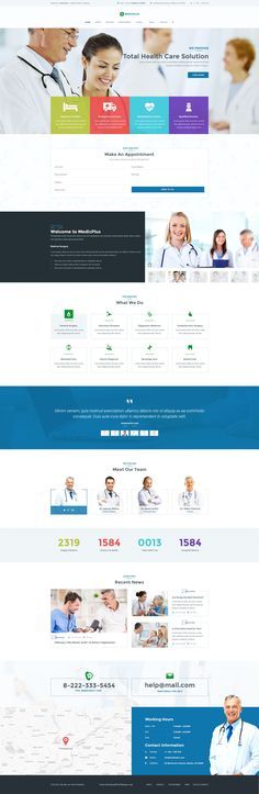 MedicPlus is a PSD template was created especially for Health & #Medical Related Project. It is suitable for the professions such as #dental, clinic, #pharmacy, surgeon, psychology, ophthalmology, veterinary, physiotherapy. #psdtemplate #website