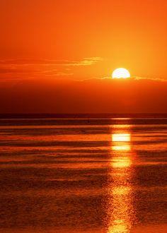 The sun setting .....