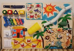 "Busy Board ""tropical"", Activity Board, Sensory Board, Montessori educational Toy, Wooden Toy, Fine motor skills board for toddlers & babies"